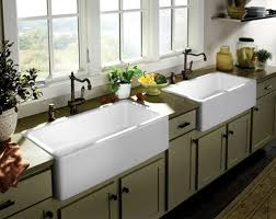 Double Sinks Kitchen by Farmhouse Kitchens White Farmhouse Double Sink Green Kitchen