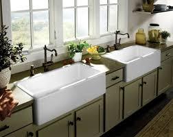 Farmhouse Kitchens White Farmhouse Double Sink Green Kitchen - Double sink kitchen