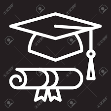 graduation sign graduation hat and diploma line icon white outline sign vector