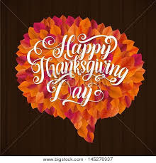 happy thanksgiving day leaf speech vector photo bigstock