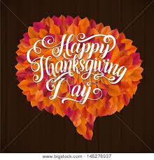 happy thanksgiving day leaf speech vector photo bigstock