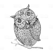 owl isolated illustration with ornanets fill for stock