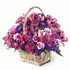 flower baskets purple meadow basket bouquet at send flowers