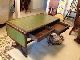 leather top side table green leather top drop leaf coffee table info hometalk