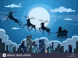 santa claus sleigh reindeer fly sky over city skyscraper night