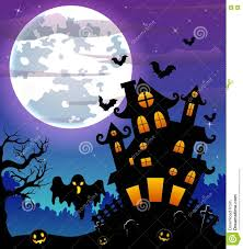halloween night background with black ghost and pumpkins and scary
