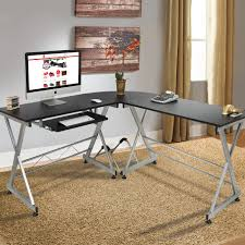 best choice products wood l shape corner computer desk pc laptop