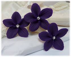 flower hair pins purple hair flowers purple flower wedding hair pins