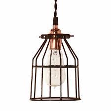 wire cage pendant light minimalist copper cage pendant barn light electric
