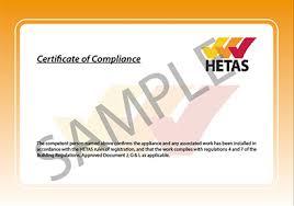 hetas certificate of compliance installation building regulation