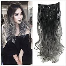 grey hair extensions dybst black to grey 2 tone ombre color
