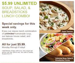 olive garden endless soup salad breadsticks just 5 99 coupon