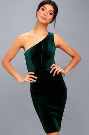 forest green dress bodycon dress one shoulder dress