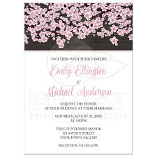 invitations cherry blossom rustic wood white