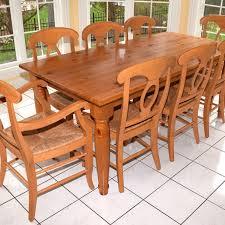 pottery barn farm dining table pottery barn pine farm table and eight chairs ebth