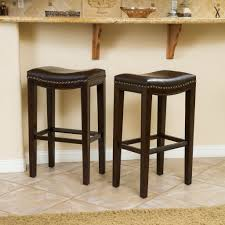 jaeden backless brown leather bar stools set of 2 leather bar