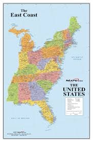 United States Map Poster by East Coast Usa Wall Map Maps Com