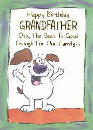 white dog with big smile funny grandfather birthday card by