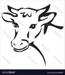smiling cow portrait sketch royalty free vector image