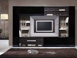 cool modern showcase design for elegant black living room with