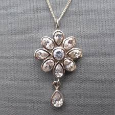 vintage crystal pendant necklace images Sterling silver pendant with crystal flower uk jpg