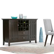 simpli home bedford tobacco brown buffet with wine storage 3axcbed