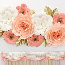 paper flower paper wall flower set in coral caden