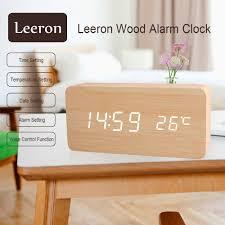 amazon com wooden digital alarm clock leeron cube wood shaped