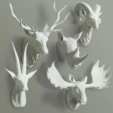 Fake Deer Head Wall Mount Animal Busts Wall Decor Furry Animal Deer Head Wall Hanger