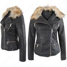 new la s women pu biker jackets gold fur collar quilted pvc