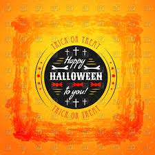 halloween party poster with round label on shabby orange