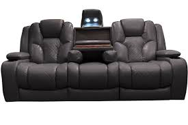 fabric recliner sofas interior impressive spartan reclining sofa with drop down table