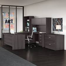 l shaped desk with hutch right return bush business furniture studio c 7 piece u shaped desk office