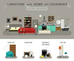 furniture and home accessories banner with vector flat icons
