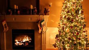 2 hours christmas tree fireplace scene with real crackling fire