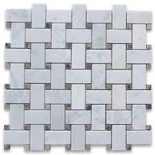 carrara white 1x2 basketweave mosaic tile w emperador dark dots