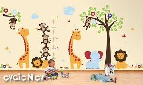 Safari Nursery Wall Decals Monkeys Giraffes Elephant Lions Wall Decals Children Wall