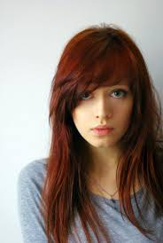 hairstyles with side bangs red hair