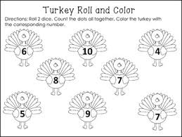 thanksgiving turkey roll and color freebie by kteachertiff tpt