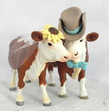 cowboy cake topper hereford cow and bull country wedding cake topper with sunflower