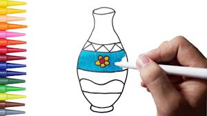 how to draw flower vase u0026 coloring pages for kids learning