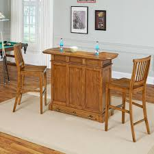 Home Bar Set by Linon Home Decor Betty 3 Piece Rustic Brown Bar Table Set