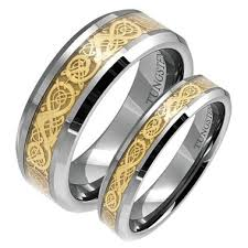 wedding bands sets his and hers matching tungsten wedding band set his and gold rings