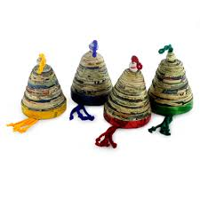 recycled paper ornaments set of 4 bells of and