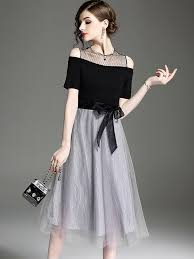 stylish dresses shoulder stitching tulle o neck sleeves stylish dresses