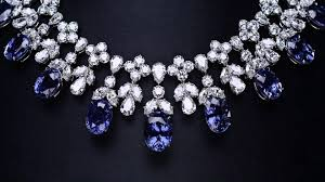 dimond drop cascading sapphire and diamond drop necklace
