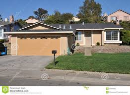 single family house one story with driveway royalty free stock