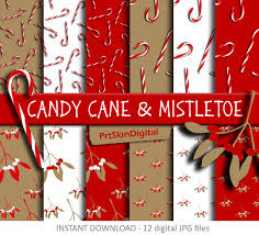 christmas digital paper candy cane u0026 mistletoe