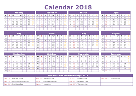 2018 calendar with holidays yearly printable calendar