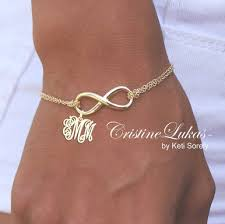 Bracelet With Initials Infinity Bracelet Of Anklet With Monogram Initials In Sterling